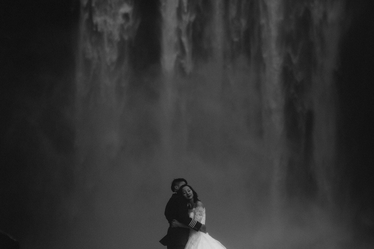Skogafoss wedding photo, iceland wedding photos, waterfall in iceland wedding photos