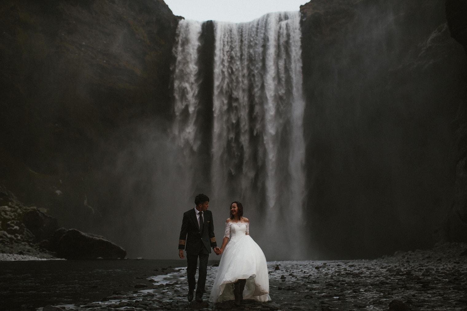 iceland waterfall elopement