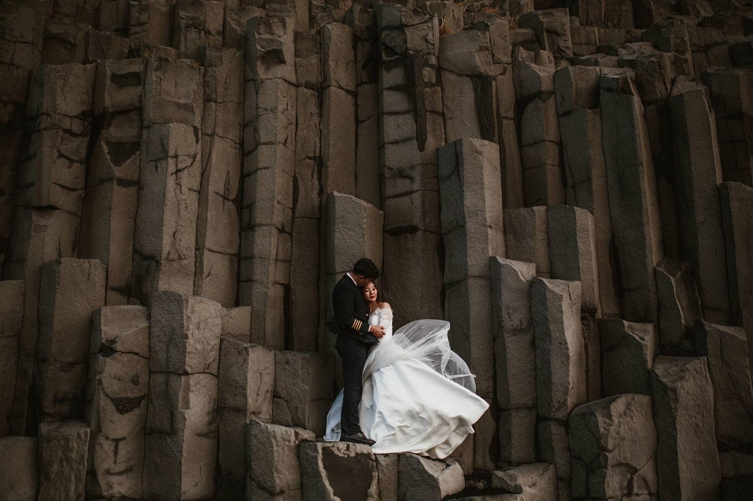 basalt columns iceland wedding