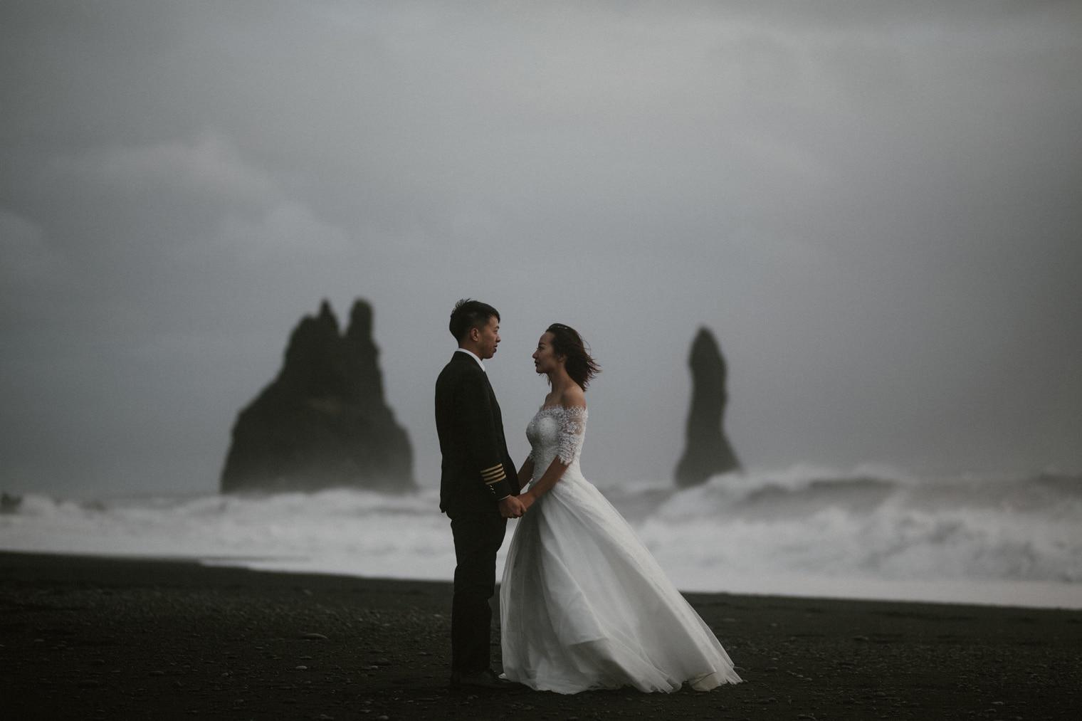reynisfjara black sand beach iceland wedding