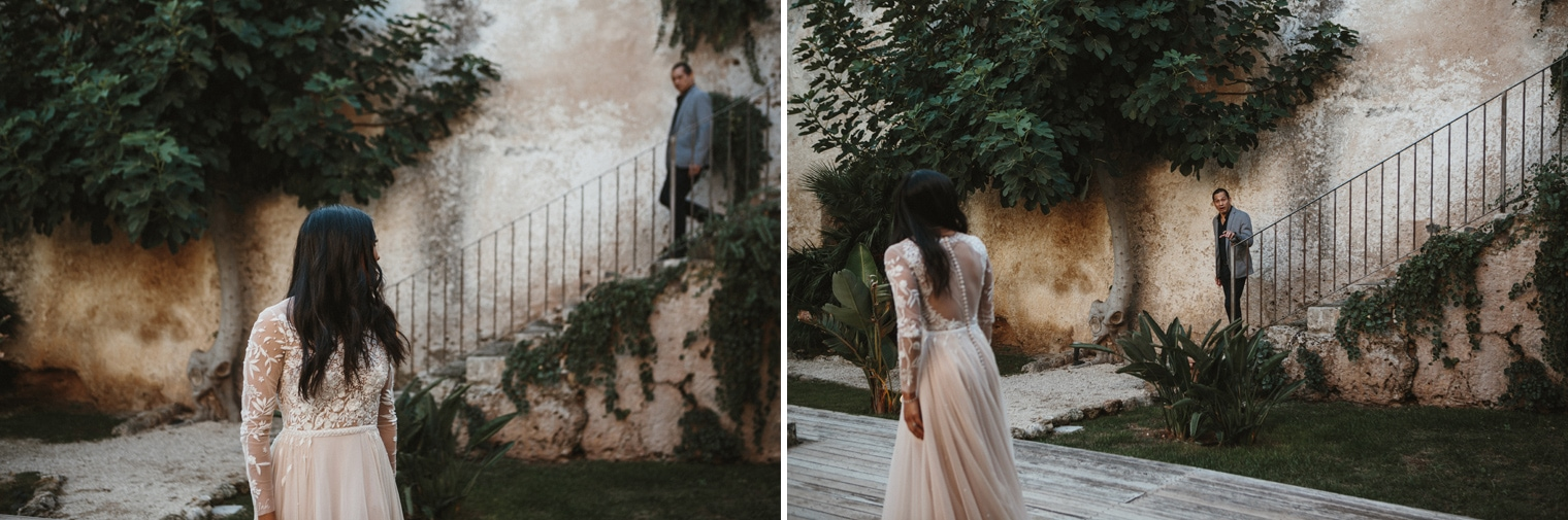 Father seeing bride for the first time at italian destination wedding