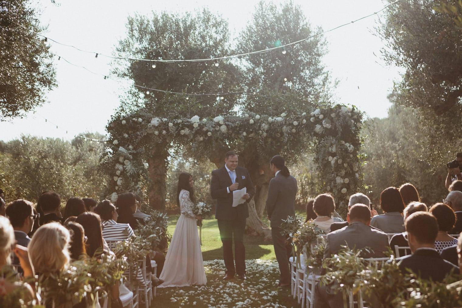 Apulian wedding ceremony at masseria torre coccaro