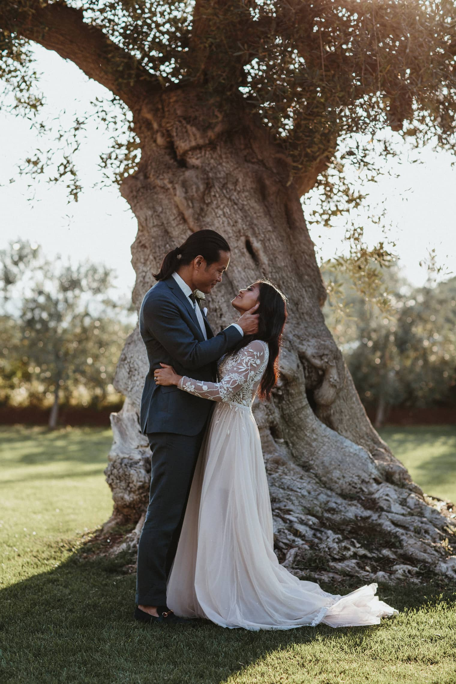 Bride and Groom at masseria torre coccaro in the sun under an olive tree