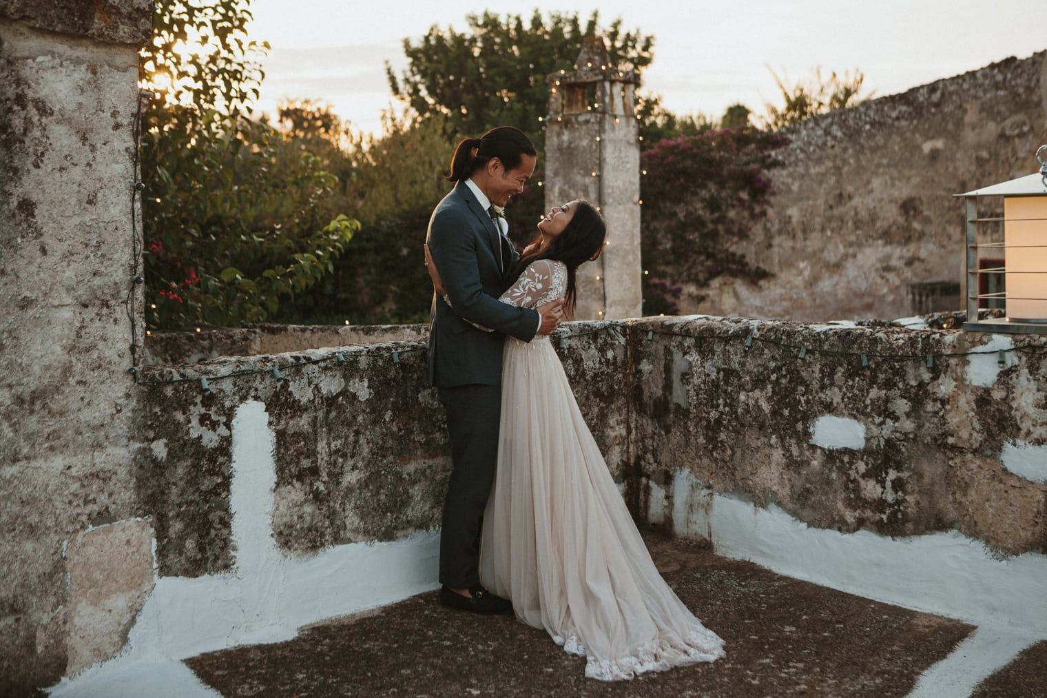 Italy wedding photographer captures funny moment between bride and groom at masseria torre coccaro