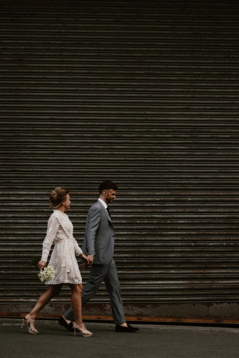 bride and groom eloping in london after chelsea town hall wedding ceremony