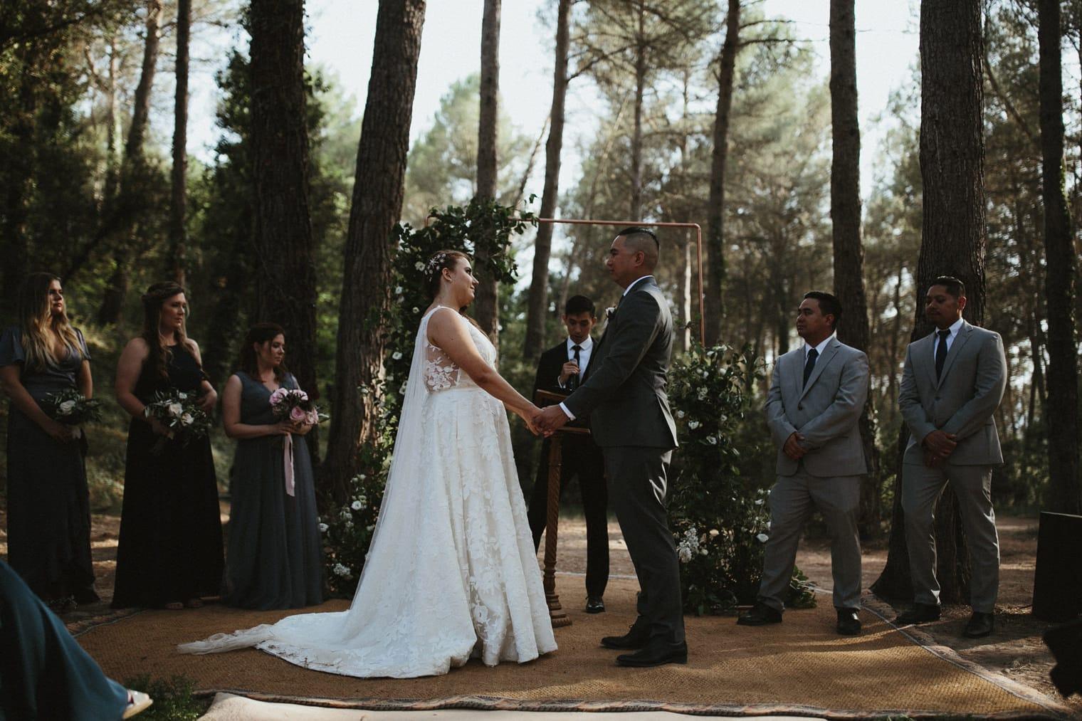 Outdoor forest ceremony in Spain at la garriga de castelladral