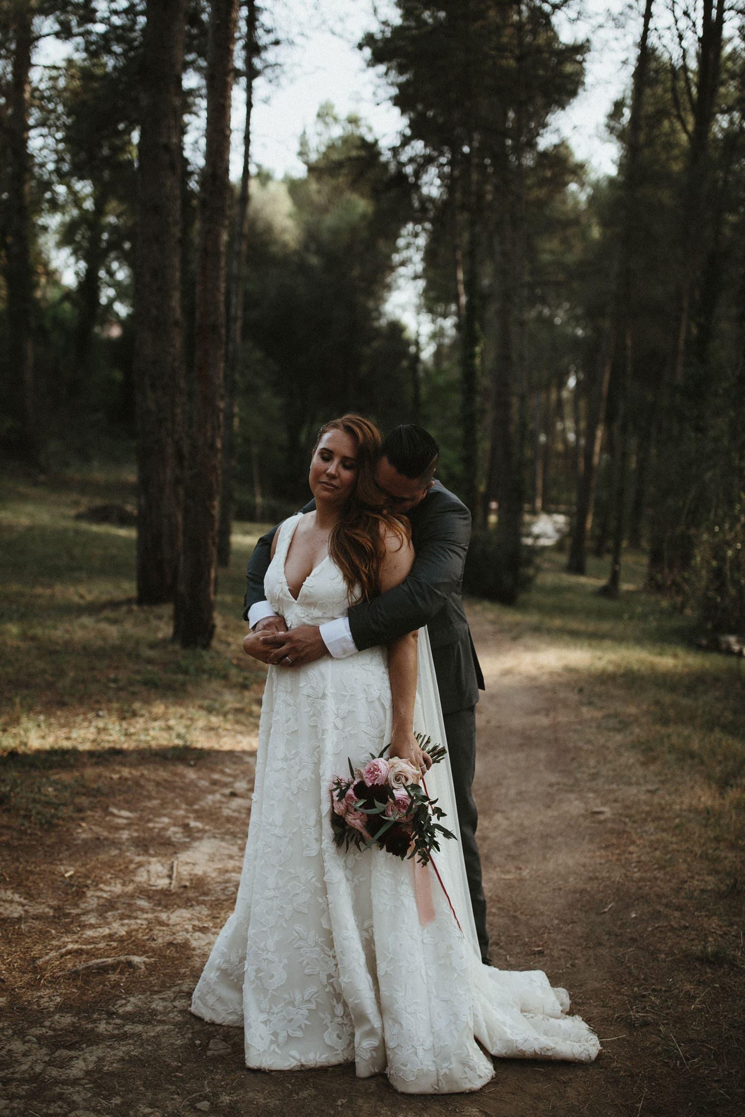 Bride and Groom portraits in forest at la garriga de castelladral