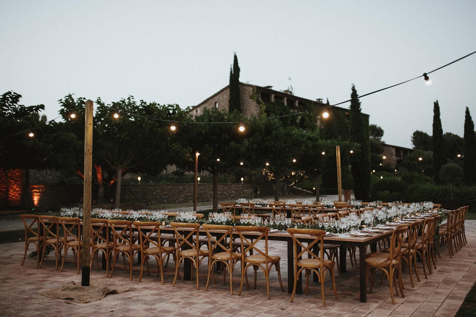 Wedding reception decor at la garriga de castelladral