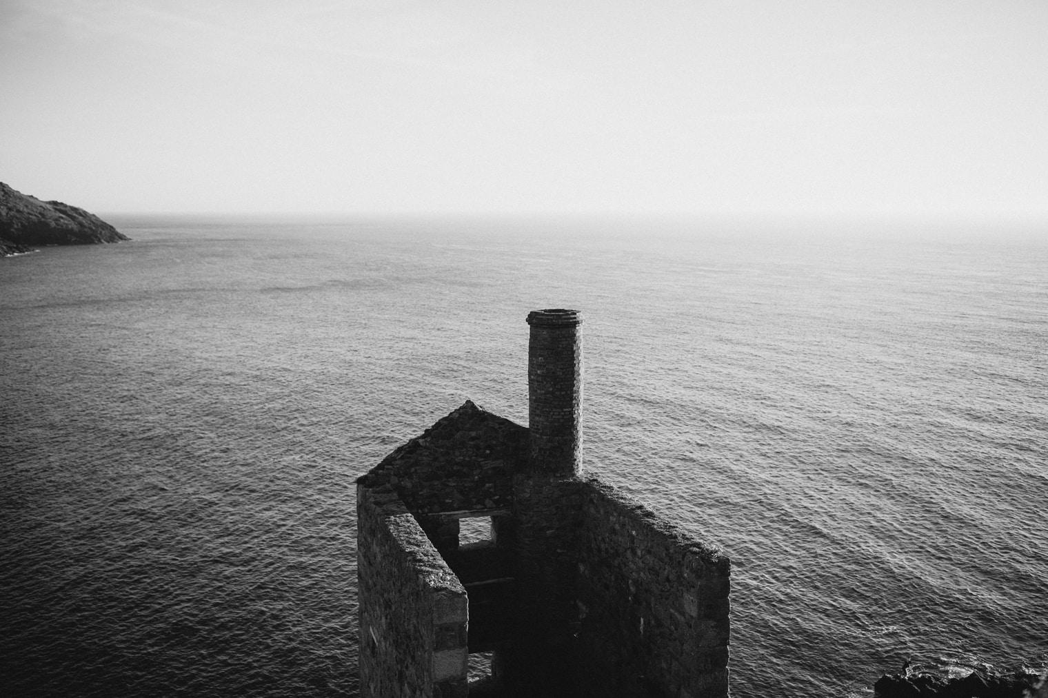 Cornish tin mine overlooking sea in England