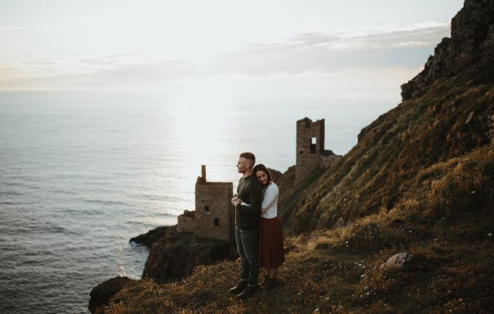 Cornwall coast engagement shoot with Cornish mines