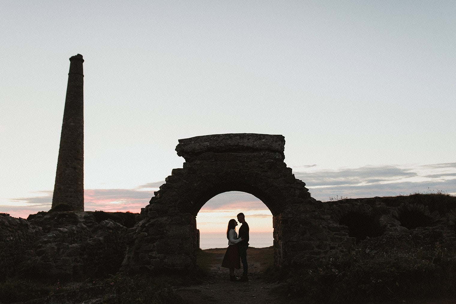 Couple at dusk during Cornwall Engagement session