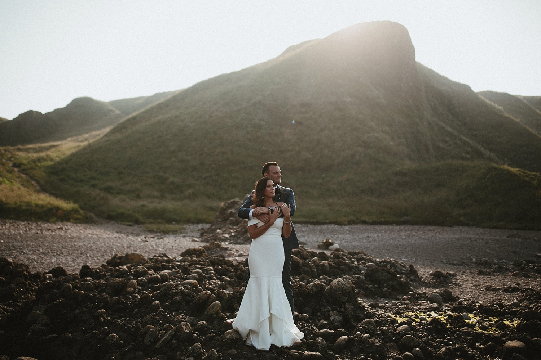 Couple together on coastline