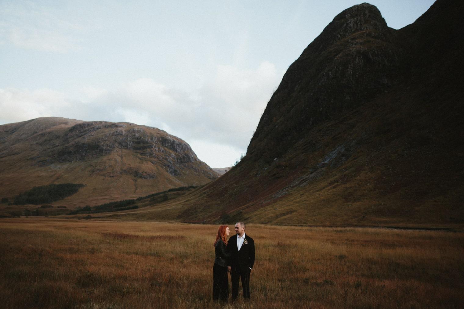 scottish highlands elopement with bride in black jumpsuit
