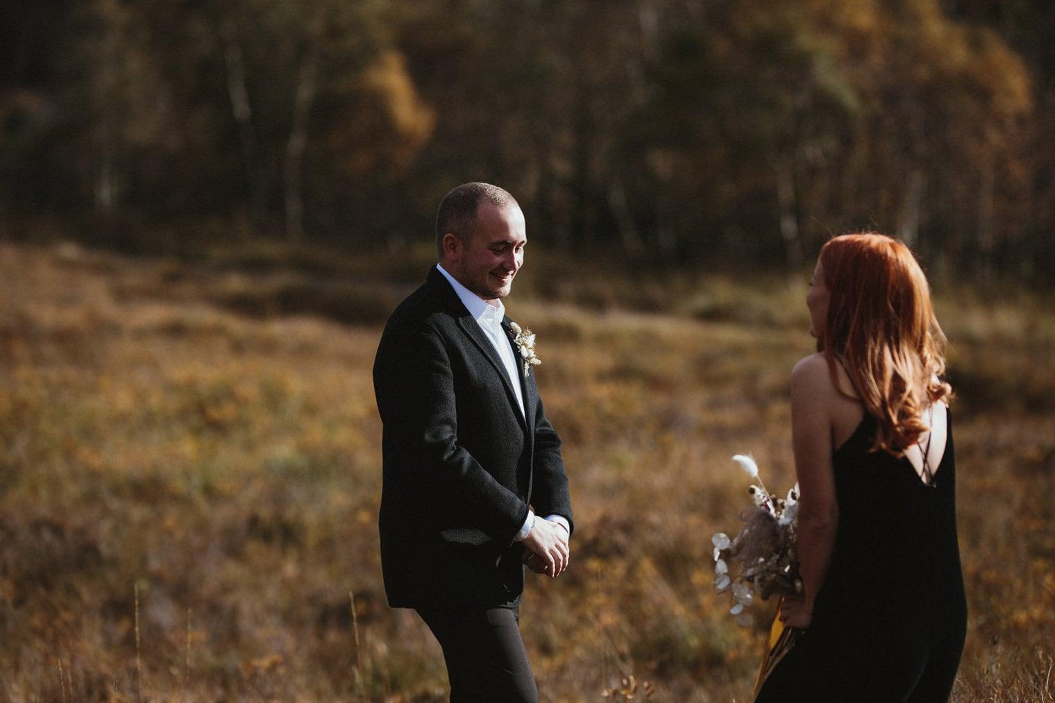 groom takes first look at bride