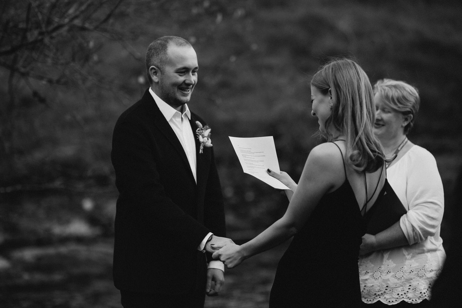 bride reading her vows during her elopement in Scotland