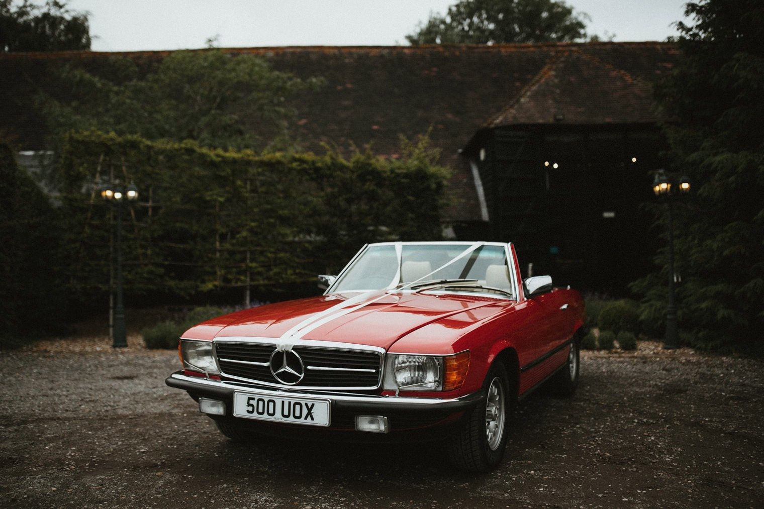 Vintage red mercedes wedding car