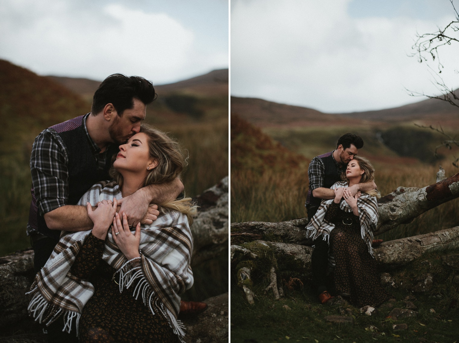 Isle of Skye anniversary session in Scotland, couple sitting on a tree, woman wrapped in tartan blanket