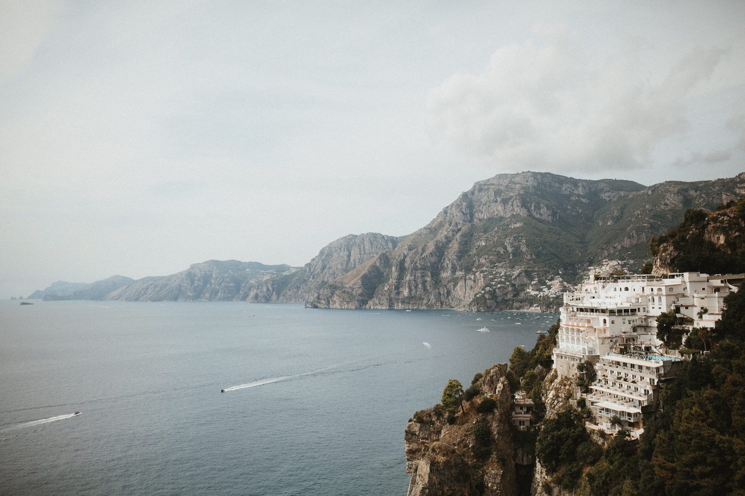 Amalfi Coastline with boats in the water