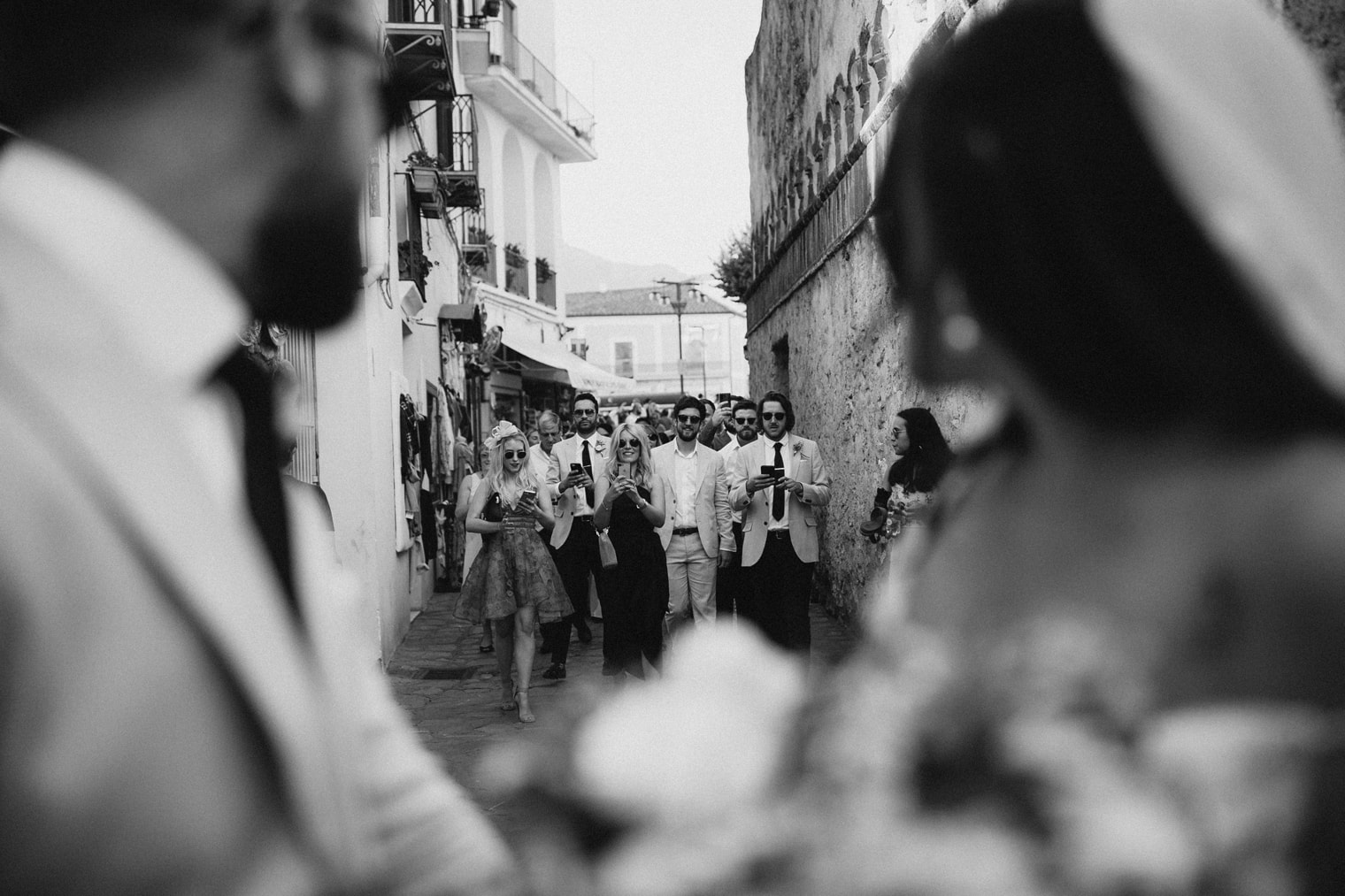 Bride and Groom with their wedding guests during their Amalfi Coast Wedding in Ravello