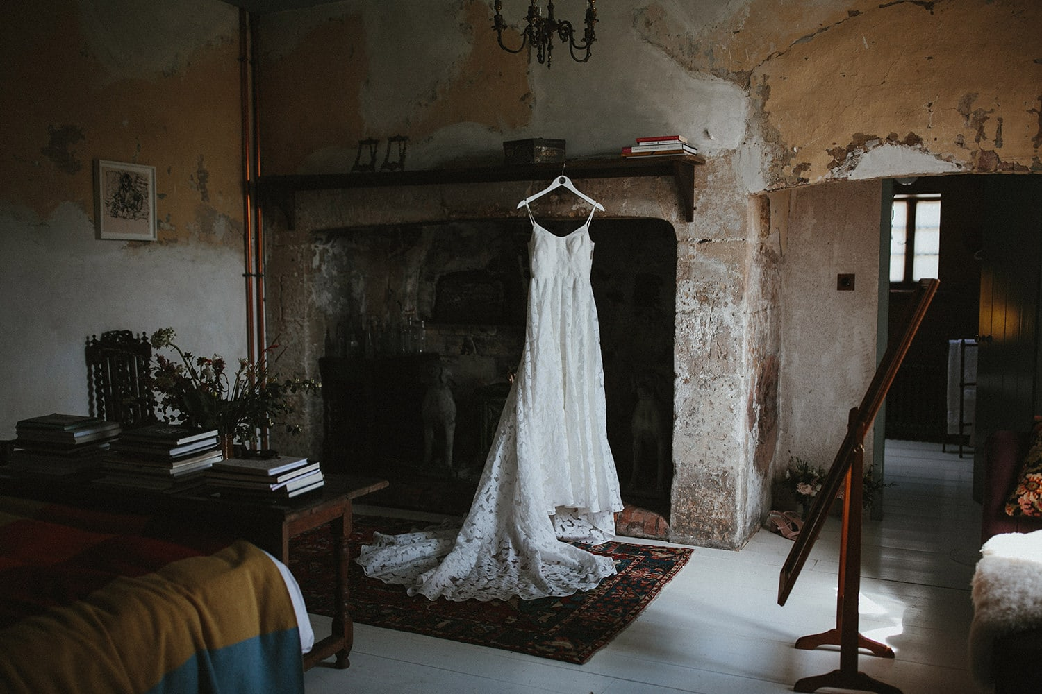 Wedding dress at hauser and wirth in Somerset