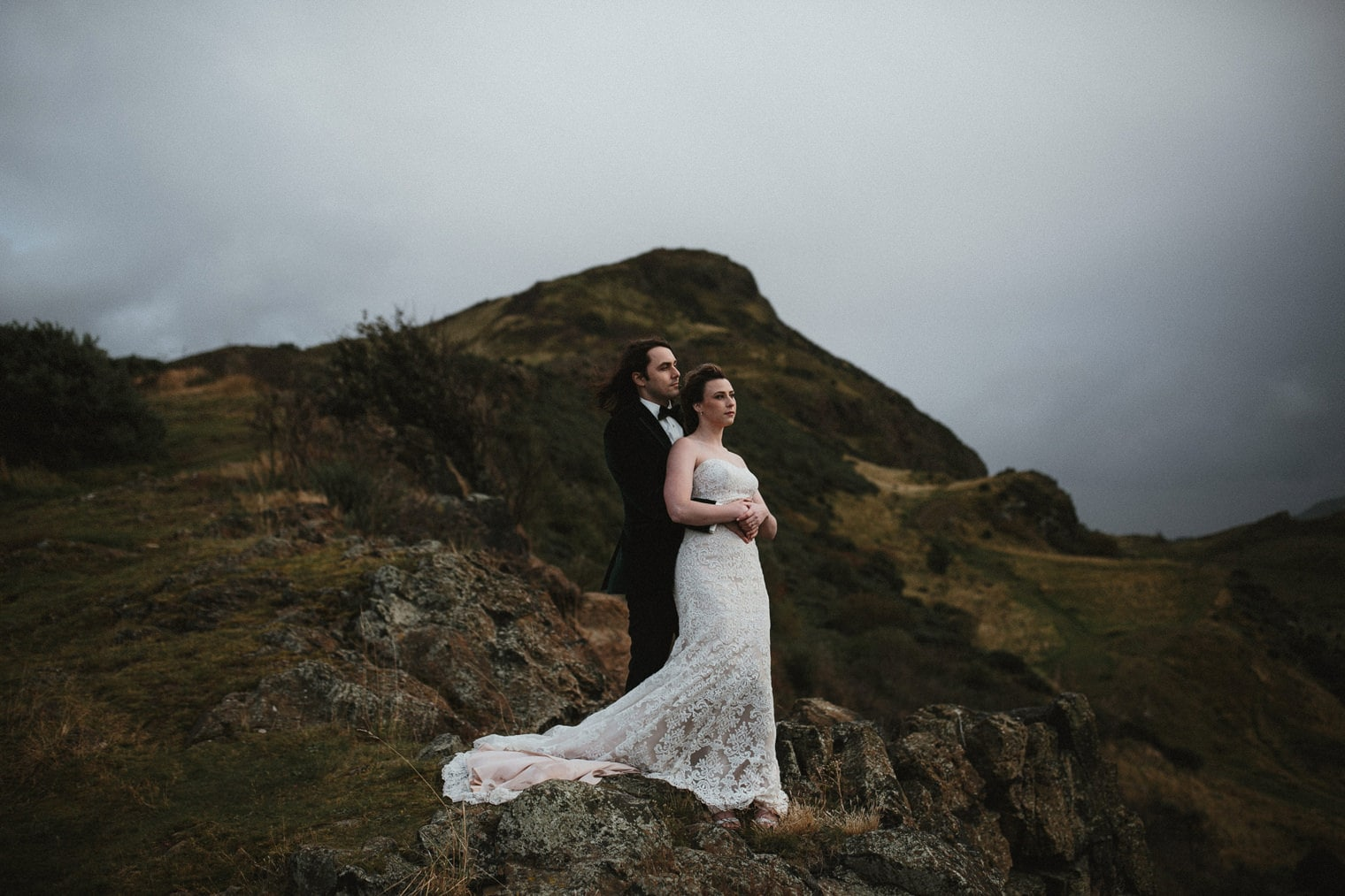 Bride and Groom in Holyrood Park during their Edinburgh Wedding