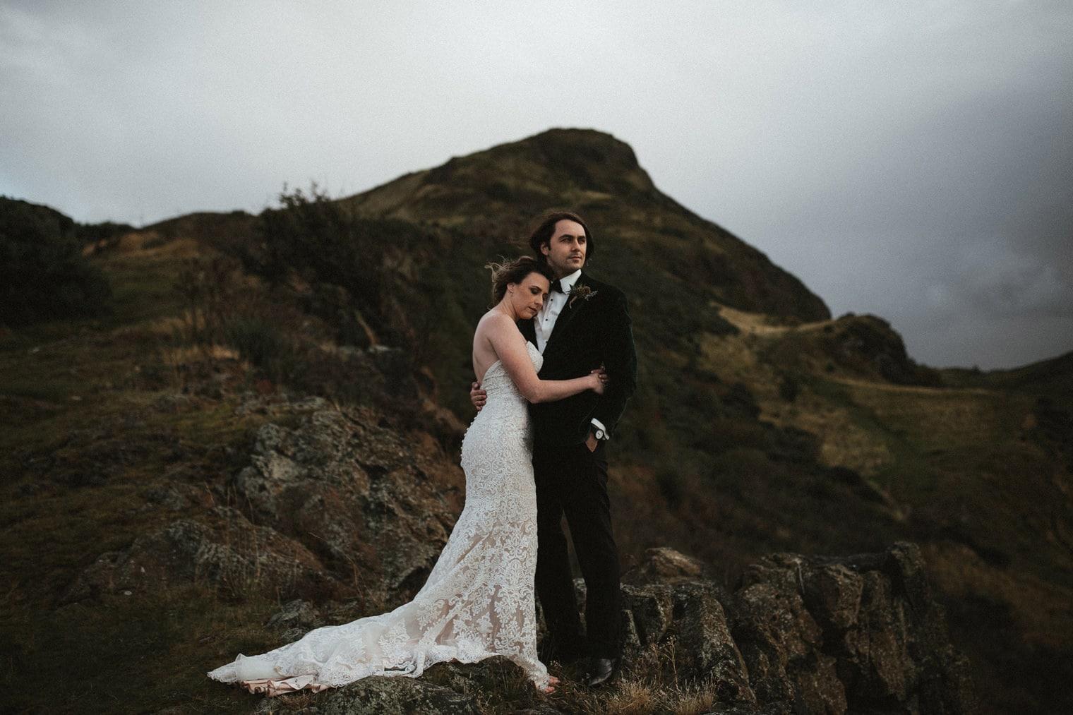 Bride and Groom eloping in Edinburgh