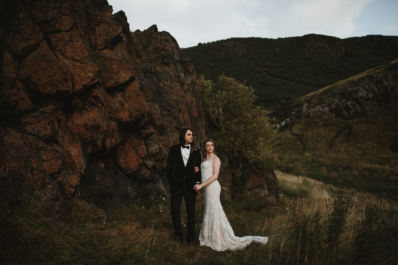 Bride and Groom in Holyrood Park after their Edinburgh elopement at St. Anthony's Chapel