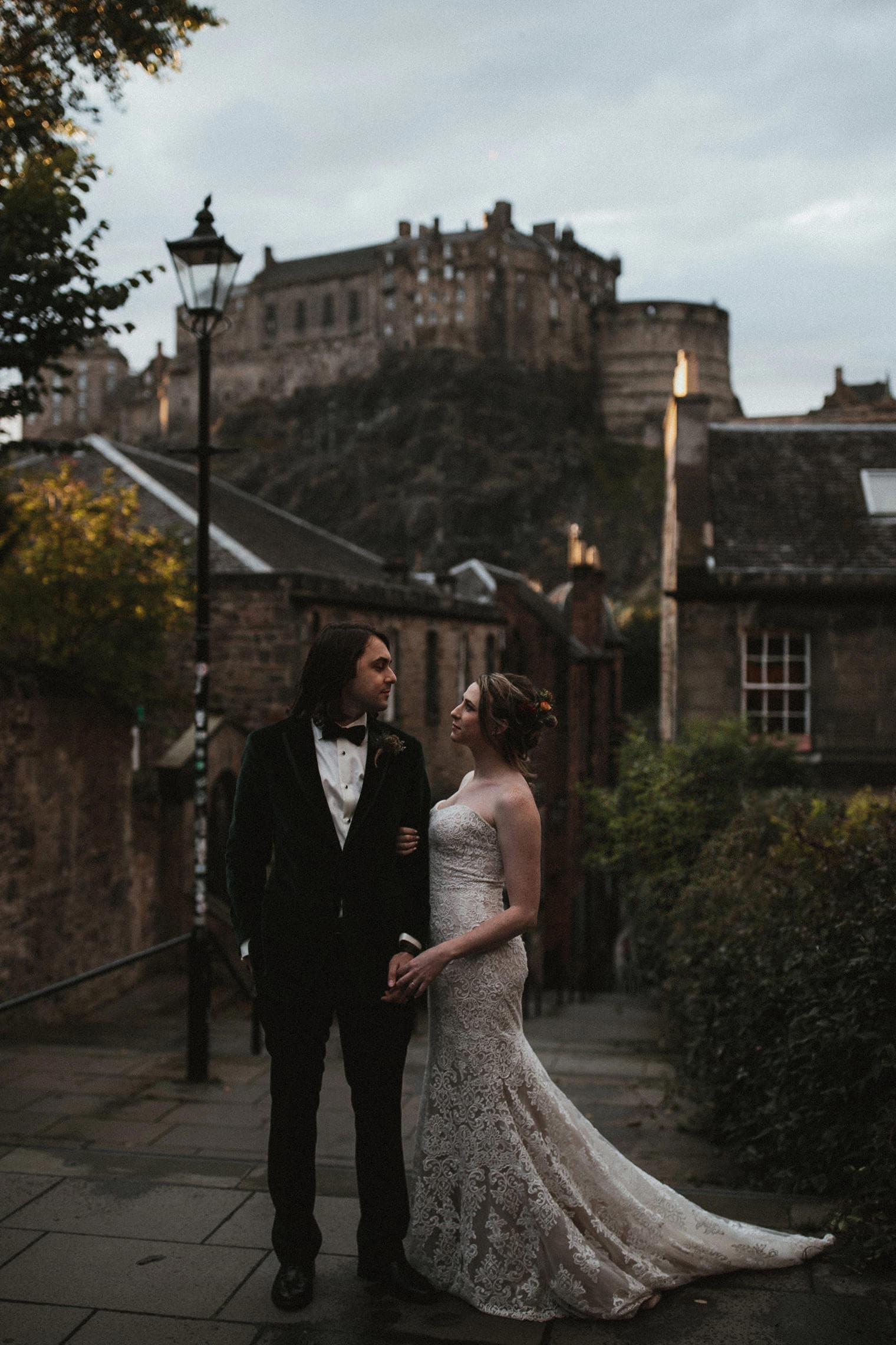 bride and groom in Edinburgh