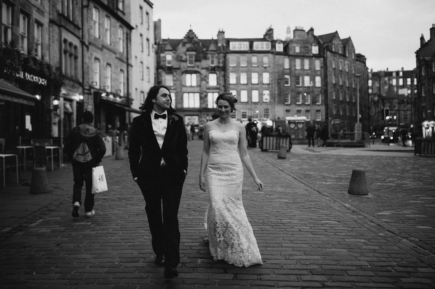 Couple eloping in Edinburgh