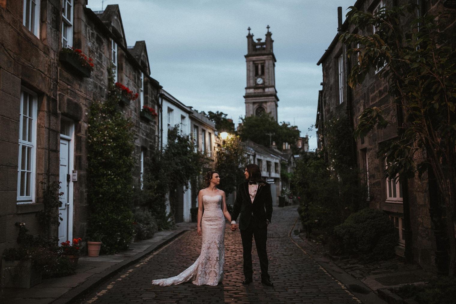 Bride and Groom in Circus Lane, Edinburgh, Scotland