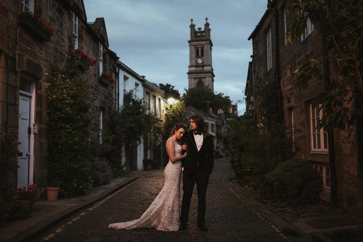 Bride and groom in Edinburgh after their wedding