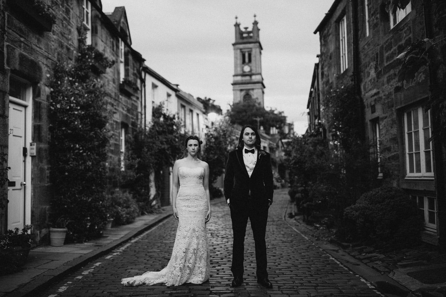 Bride and Groom standing in Circus Lane, Edinburgh for their Edinburgh Elopement