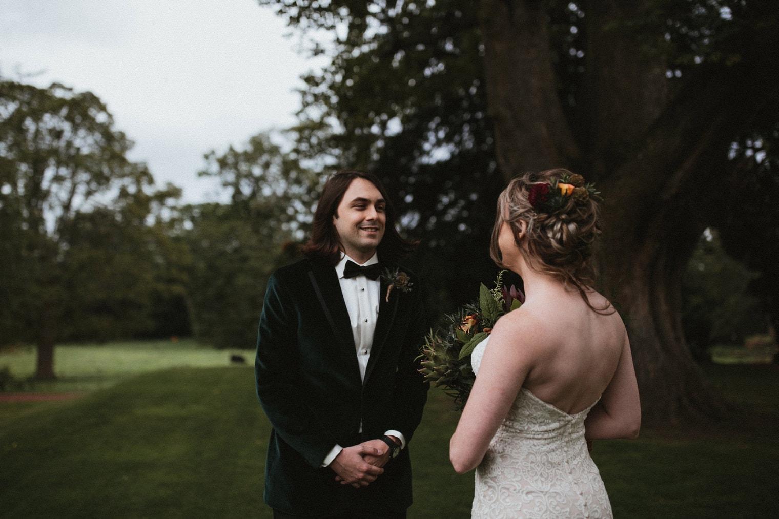 Bride and groom first look during their scotland wedding in Edinburgh