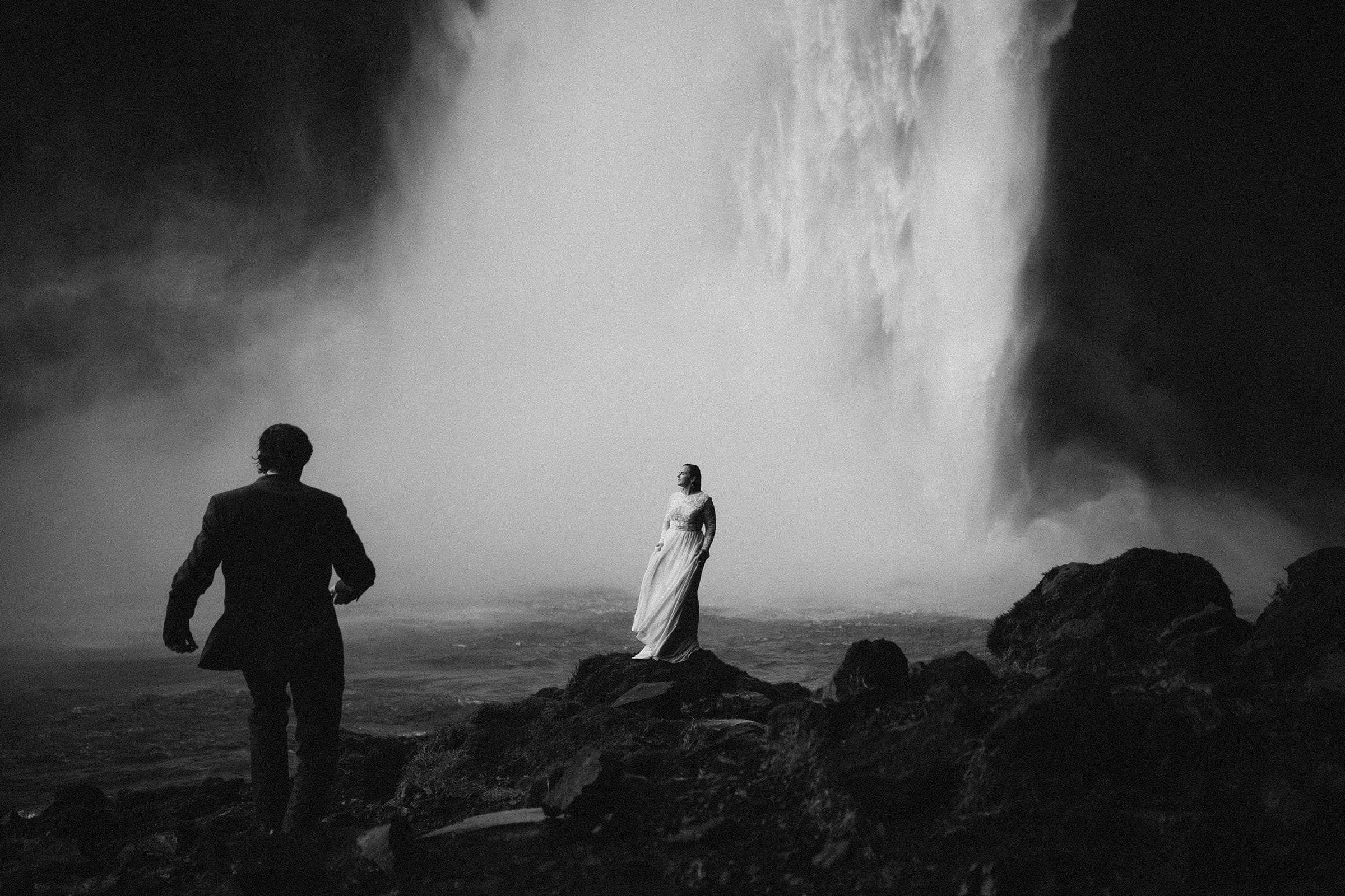 Bride and Groom at Skogafoss Waterfall in Iceland