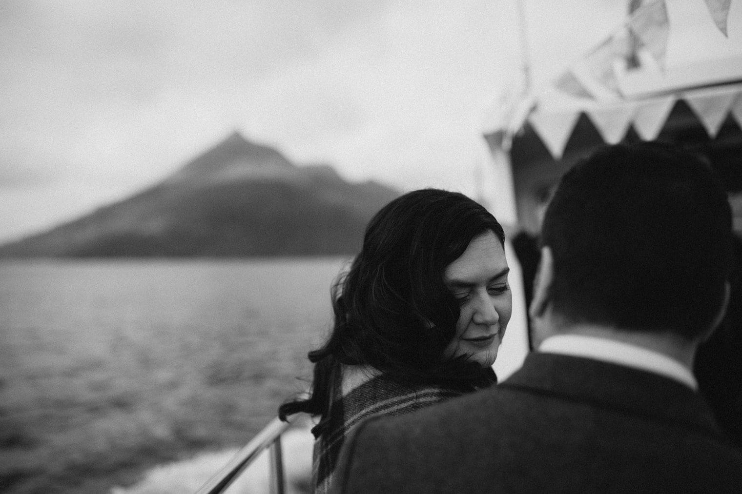 Bride on boat to Loch Coruisk