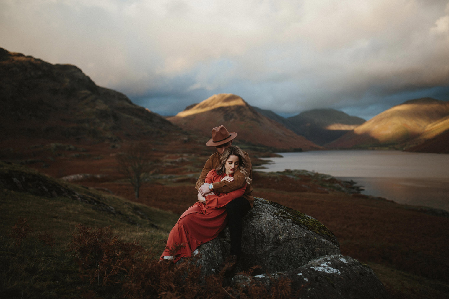 Couple embracing each other during their Couples Portrait Session in the Lake District
