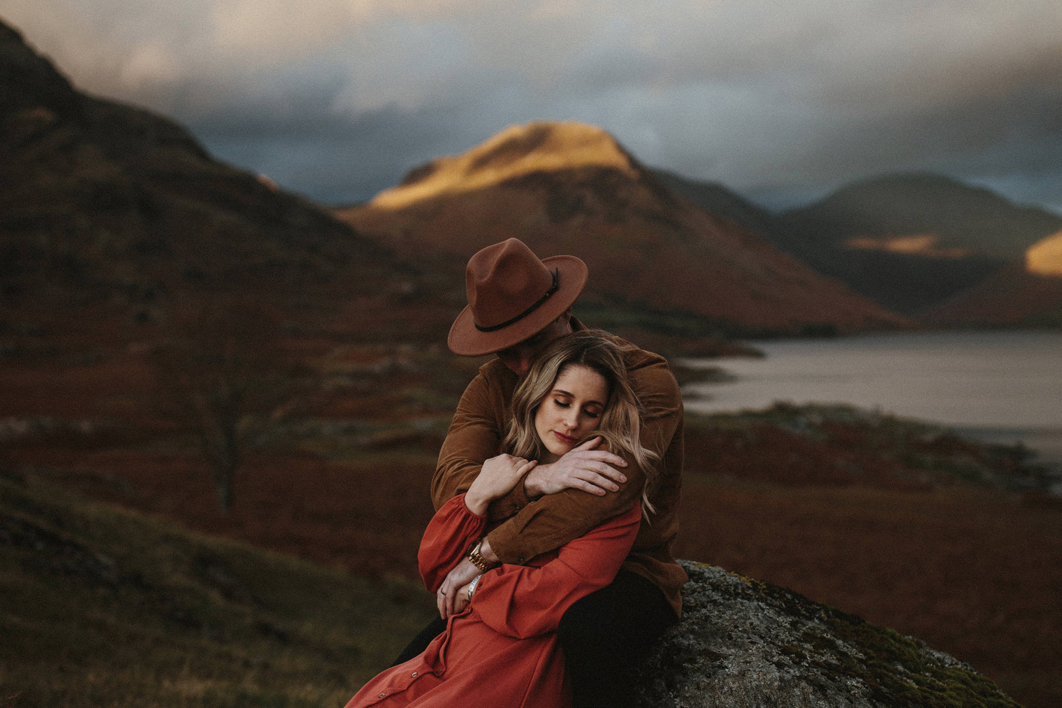 stylish couple holding each other during their Couples Portrait Session in the Lake District