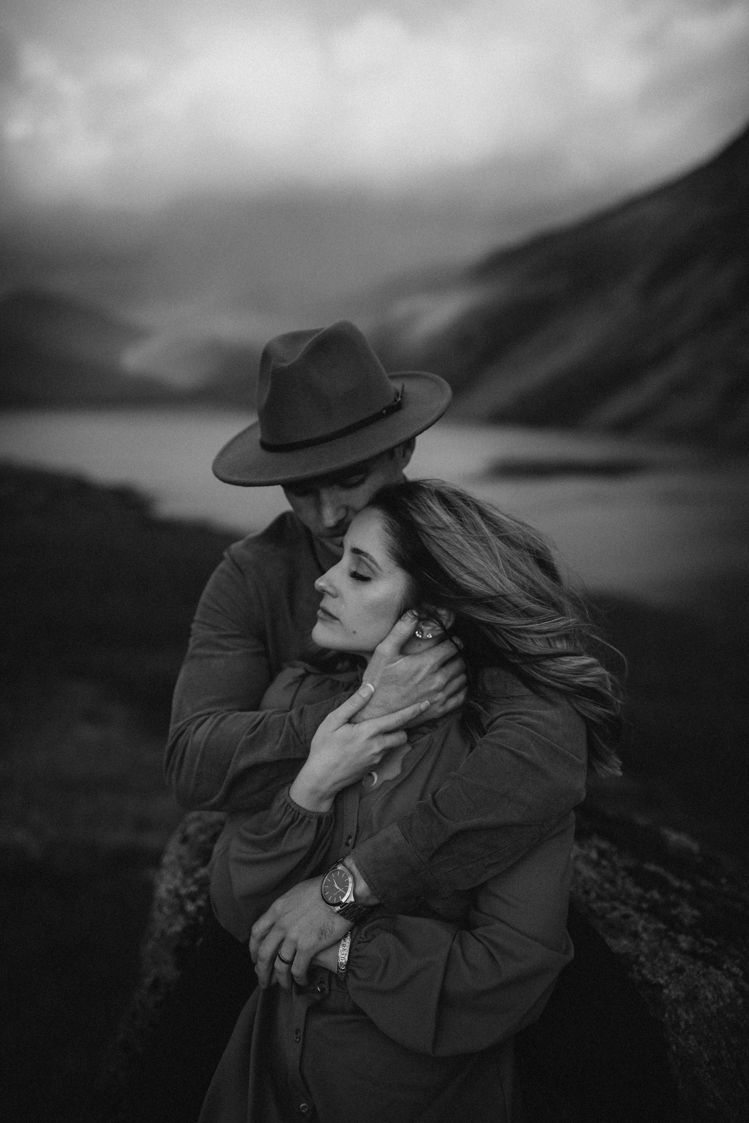 Cinematic black and white Couples Portrait Session in the Lake District