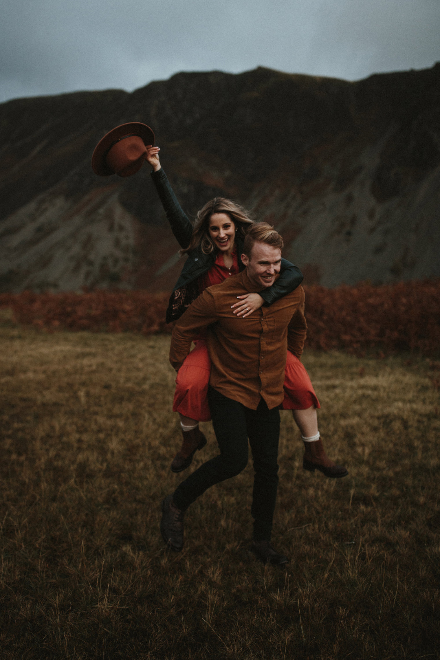 Piggyback ride during Couples Portrait Session in the Lake District