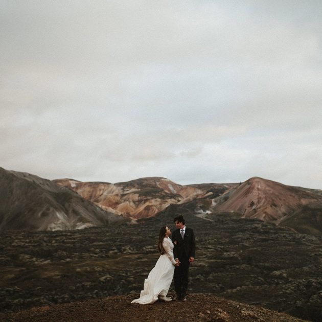 Couple eloping in Iceland